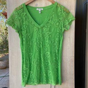 Aeropostale kiwi lime jade matcha lace front vneck